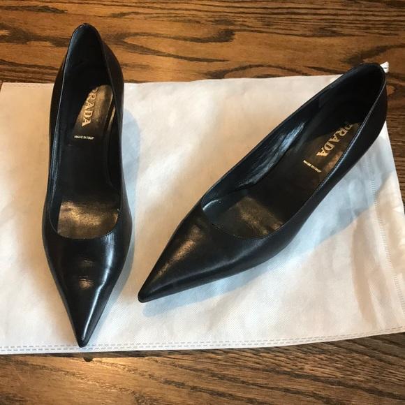 Prada Black Leather Pointed Toe Kitten